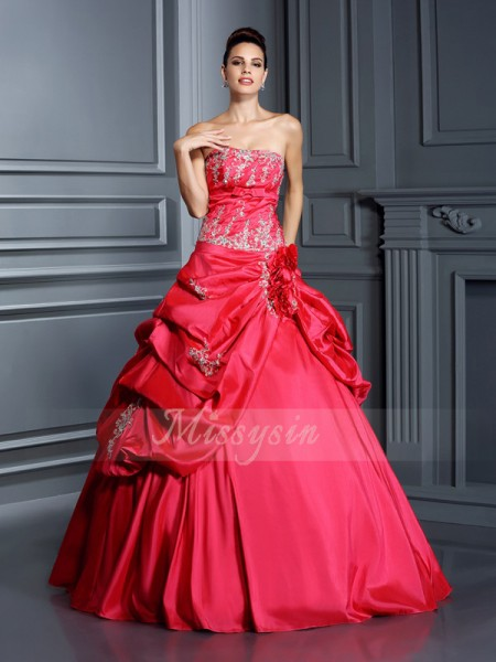 Ball Gown Sleeveless Strapless Applique Floor-Length Taffeta Dresses
