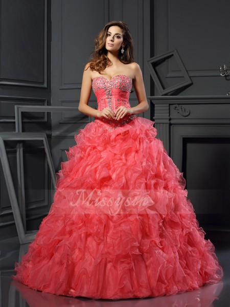 Ball Gown Sleeveless Sweetheart Ruffles Floor-Length Organza Dresses