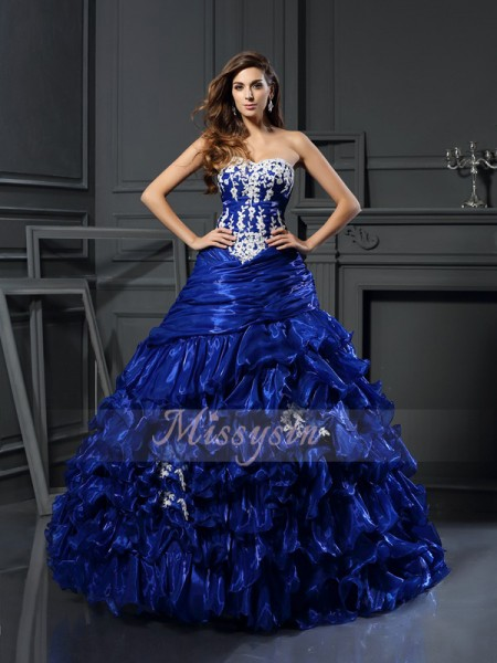 Ball Gown Sleeveless Sweetheart Beading,Applique Floor-Length Tulle Dresses