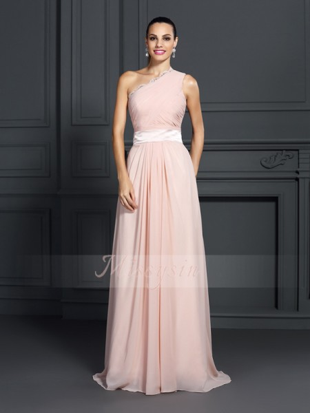 A-Line/Princess Sleeveless One-Shoulder Ruffles Sweep/Brush Train Chiffon Dresses