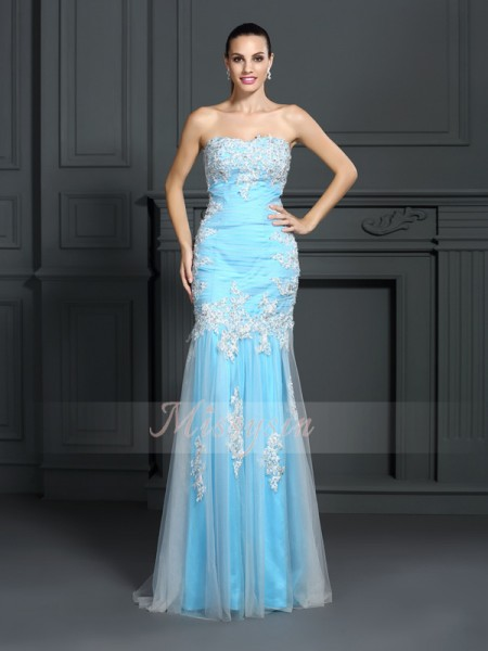 Trumpet/Mermaid Sleeveless Strapless Applique Floor-Length Elastic Woven Satin Dresses