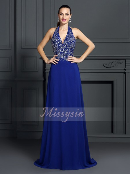 A-Line/Princess Sleeveless Halter Applique Sweep/Brush Train Chiffon Dresses