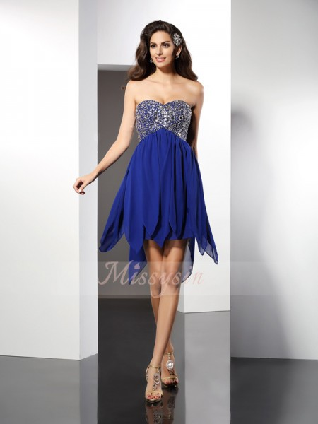 A-Line/Princess Sleeveless Sweetheart Beading Short/Mini Chiffon Dresses
