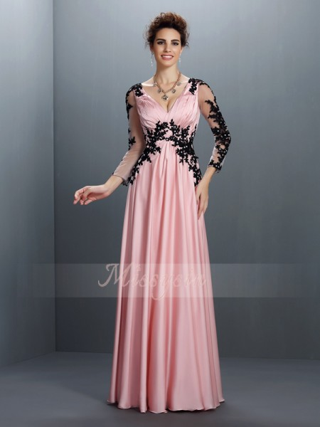 A-Line/Princess 3/4 Sleeves V-neck Applique Floor-Length Chiffon Dresses