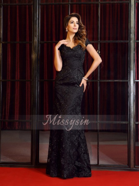 Trumpet/Mermaid Short Sleeves V-neck Applique Floor-Length Lace Dresses