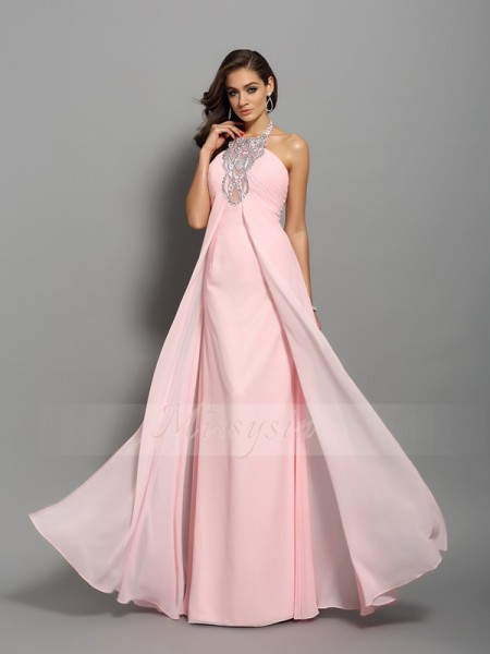 Sheath/Column Sleeveless High Neck Beading Floor-Length Chiffon Dresses