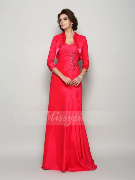 A-Line/Princess Sleeveless Straps Applique Sweep/Brush Train Elastic Woven Satin Mother Of The Bride Dresses