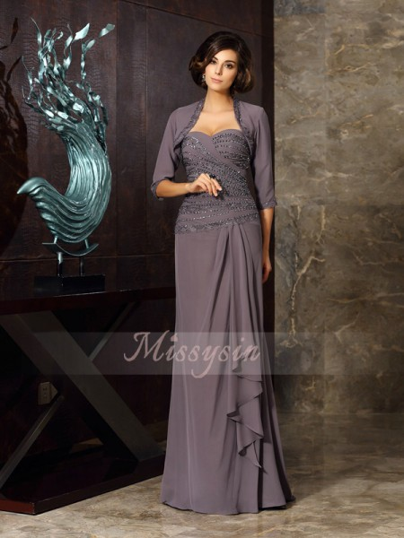 Sheath/Column Sleeveless Sweetheart Beading,Applique Floor-Length Chiffon Mother Of The Bride Dresses