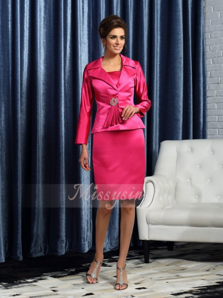 Sheath/Column Sleeveless Square Knee-Length Satin Mother Of The Bride Dresses