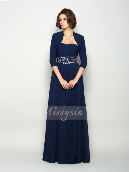 A-Line/Princess Sleeveless Sweetheart Beading Floor-Length Chiffon Mother Of The Bride Dresses