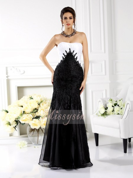 Trumpet/Mermaid Sleeveless Strapless Applique Floor-Length Tulle Dresses