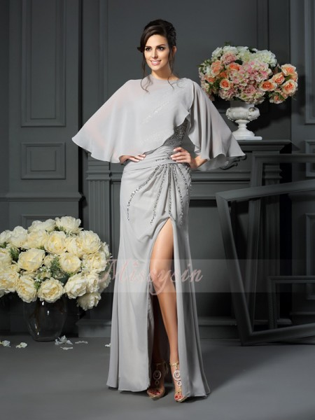 Trumpet/Mermaid Sleeveless One-Shoulder Beading Floor-Length Chiffon Mother Of The Bride Dresses