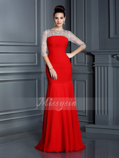 Trumpet/Mermaid 3/4 Sleeves Scoop Beading Floor-Length Chiffon Dresses