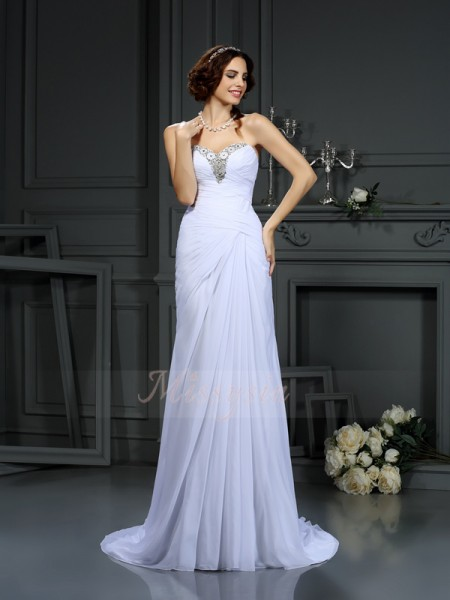 Sheath/Column Sleeveless Chiffon Sweetheart Beading Sweep/Brush Train Wedding Dresses