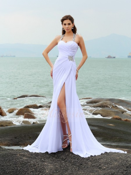 Sheath/Column Sleeveless Chiffon Straps Beading Chapel Train Wedding Dresses