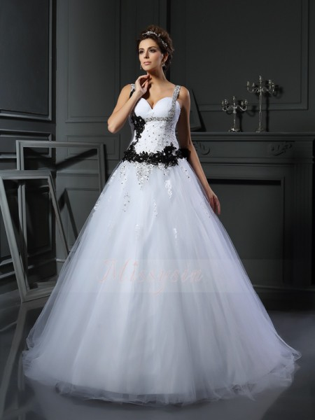 Ball Gown Sleeveless Tulle Straps Beading,Applique Chapel Train Wedding Dresses