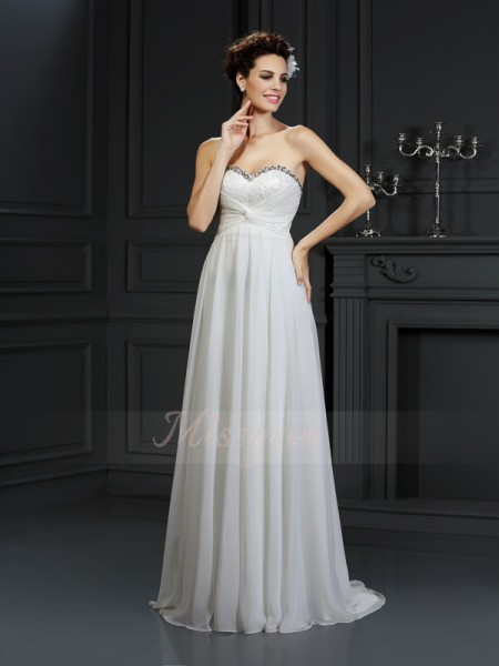 A-Line/Princess Sleeveless Chiffon Sweetheart Ruffles Chapel Train Wedding Dresses