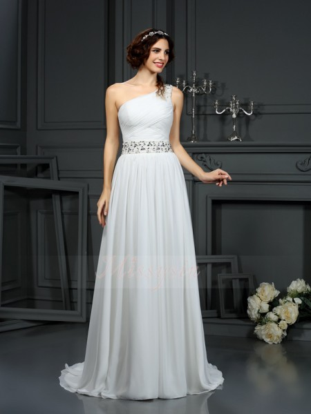 A-Line/Princess Sleeveless Chiffon One-Shoulder Beading Court Train Wedding Dresses