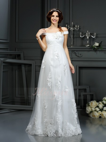 A-Line/Princess Sleeveless Net Off-the-Shoulder Applique Court Train Wedding Dresses