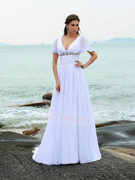A-Line/Princess Short Sleeves Chiffon V-neck Ruffles Court Train Wedding Dresses