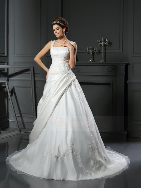Ball Gown Sleeveless Satin Straps Applique Chapel Train Wedding Dresses