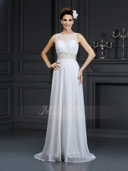 A-Line/Princess Sleeveless Chiffon Bateau Ruffles Chapel Train Wedding Dresses