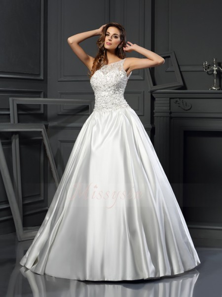Ball Gown Sleeveless Satin Scoop Applique Chapel Train Wedding Dresses