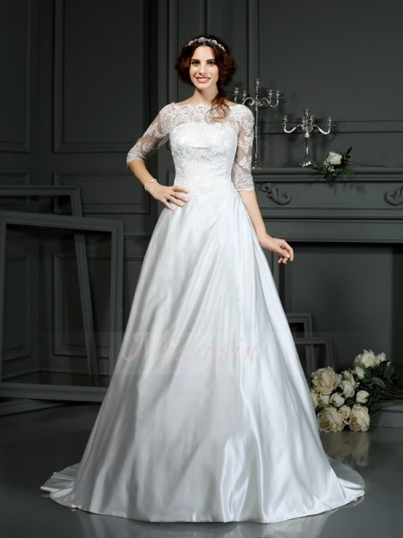 A-Line/Princess 1/2 Sleeves Satin Bateau Lace Court Train Wedding Dresses
