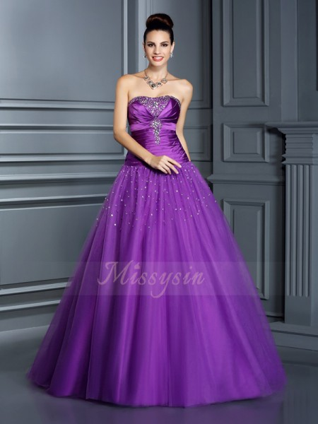 Ball Gown Sleeveless Taffeta Strapless Floor-Length Dresses