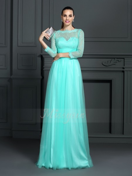A-Line/Princess 3/4 Sleeves Elastic Woven Satin Bateau Lace Sweep/Brush Train Dresses