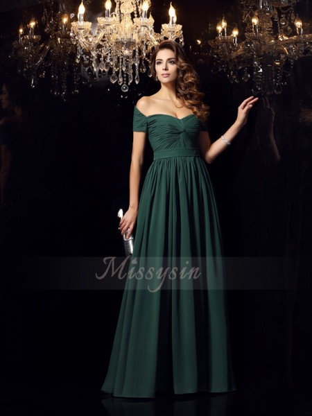 A-Line/Princess Sleeveless Chiffon Off-the-Shoulder Ruched Floor-Length Dresses
