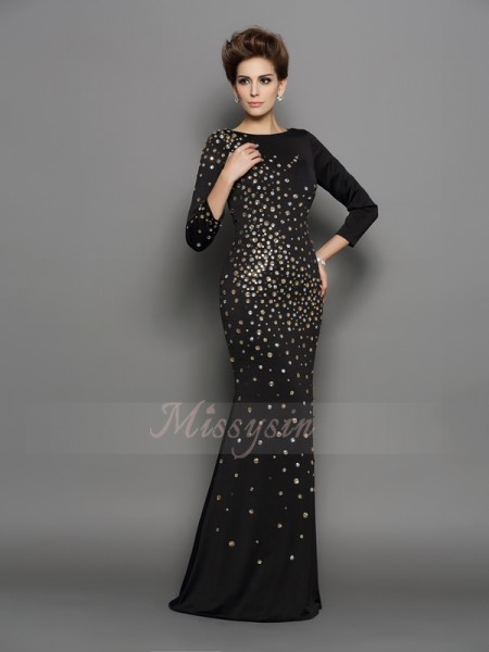 Trumpet/Mermaid Long Sleeves Spandex Scoop Rhinestone Floor-Length Dresses