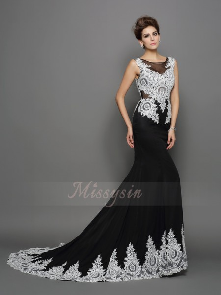 Trumpet/Mermaid Sleeveless Chiffon Scoop Lace Chapel Train Dresses