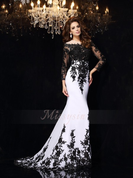 Sheath/Column Long Sleeves Chiffon Scoop Lace Sweep/Brush Train Dresses