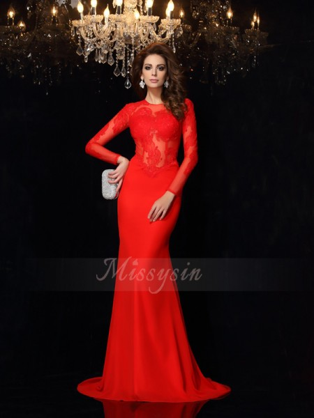 Sheath/Column Long Sleeves Chiffon Scoop Lace Court Train Dresses