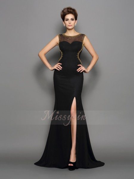 Sheath/Column Sleeveless Chiffon Scoop Beading Sweep/Brush Train Dresses