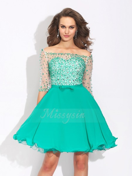 A-Line/Princess 1/2 Sleeves Off-the-Shoulder Beading Short/Mini Chiffon Cocktail Dresses