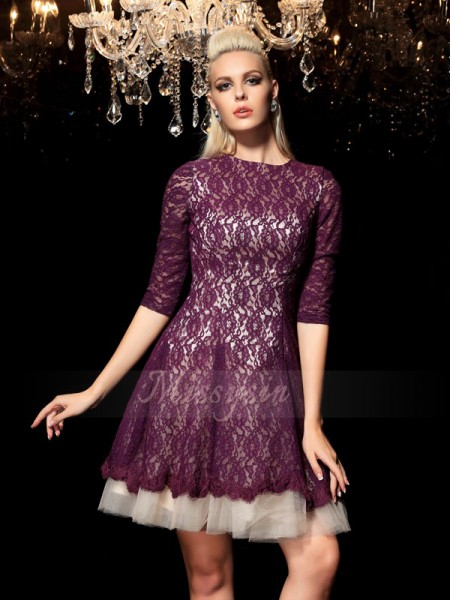 A-Line/Princess 1/2 Sleeves Sheer Neck Short/Mini Lace Cocktail Dresses