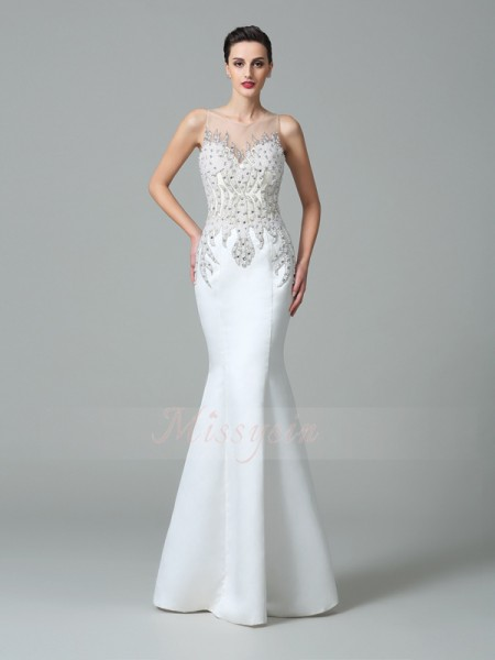 Trumpet/Mermaid Sleeveless Sheer Neck Applique Floor-Length Satin Dresses