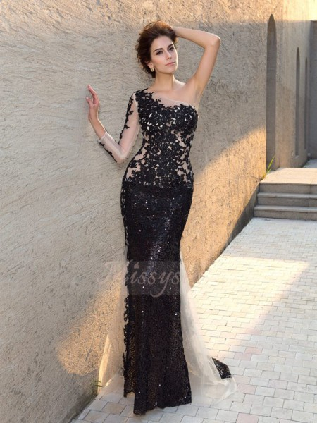 Sheath/Column Long Sleeves One-Shoulder Sequin Sweep/Brush Train Lace Dresses