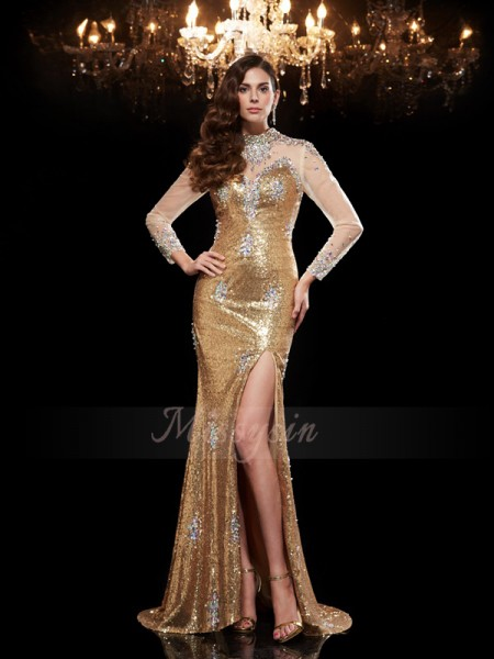 Trumpet/Mermaid 3/4 Sleeves High Neck Beading Sweep/Brush Train Sequins Dresses