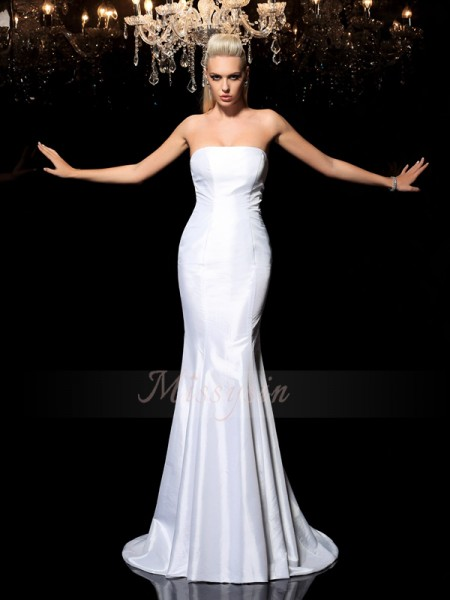 Sheath/Column Sleeveless Strapless Other Sweep/Brush Train Satin Dresses