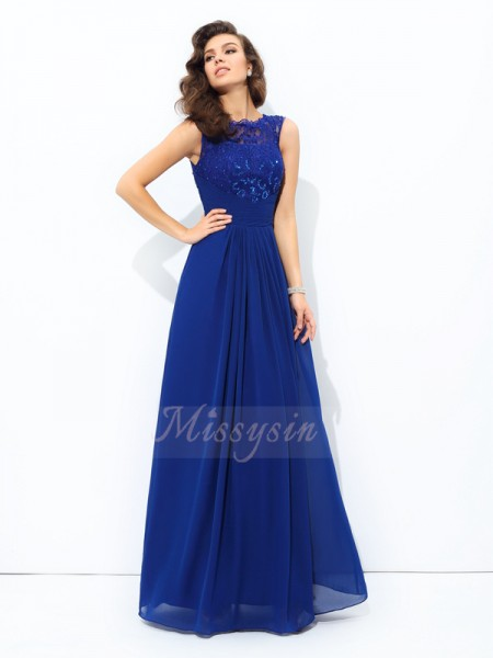 A-line/Princess Sleeveless Scoop Floor-length Chiffon Dresses