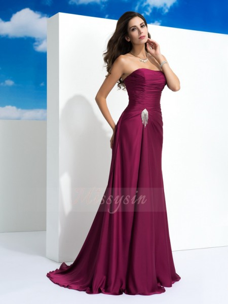 A-Line/Princess Sleeveless Strapless Pleats Sweep/Brush Train Satin Chiffon Dresses