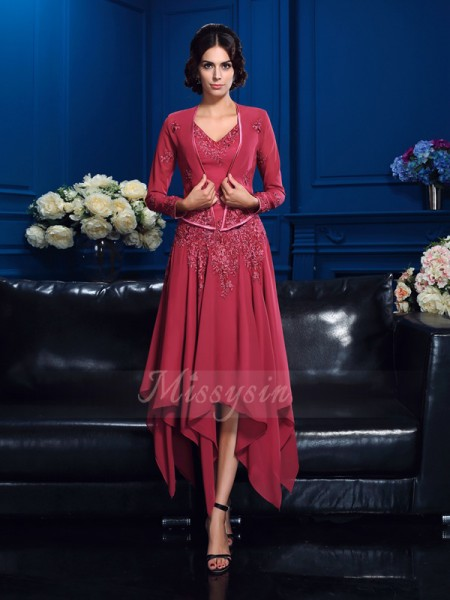 A-Line/Princess Sleeveless V-neck Applique Asymmetrical Chiffon Mother of the Bride Dresses