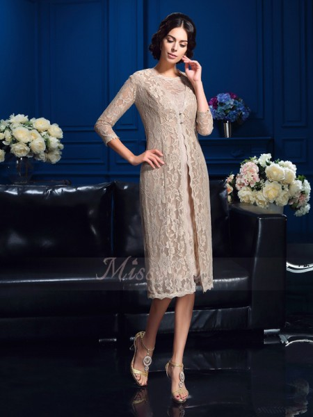 Sheath/Column Sleeveless Scoop Knee-Length Taffeta Mother of the Bride Dresses