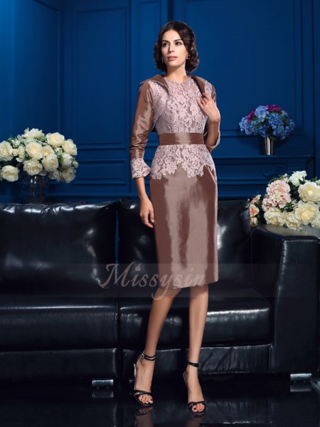 Sheath/Column Short Sleeves Jewel Knee-Length Taffeta Mother of the Bride Dresses