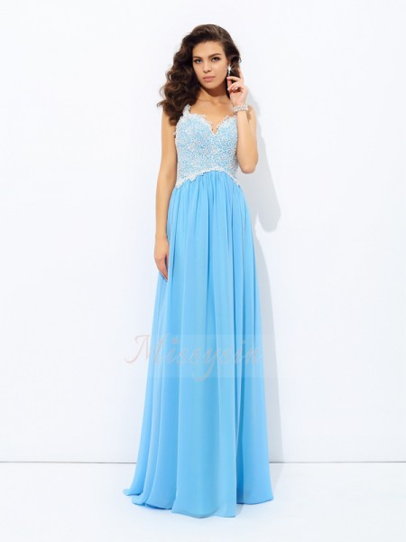 A-Line/Princess Sleeveless V-neck Floor-length Chiffon Dresses