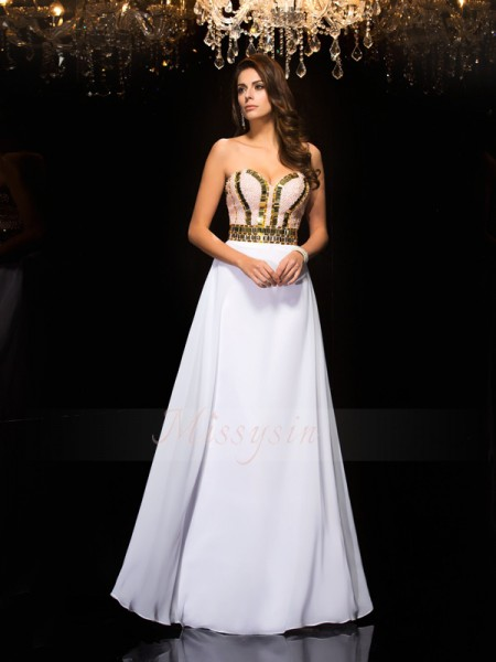 A-Line/Princess Sleeveless Sweetheart Sequin Floor-Length Chiffon Dresses