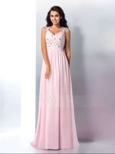 A-Line/Princess Sleeveless V-neck Applique Sweep/Brush Train Chiffon Dresses